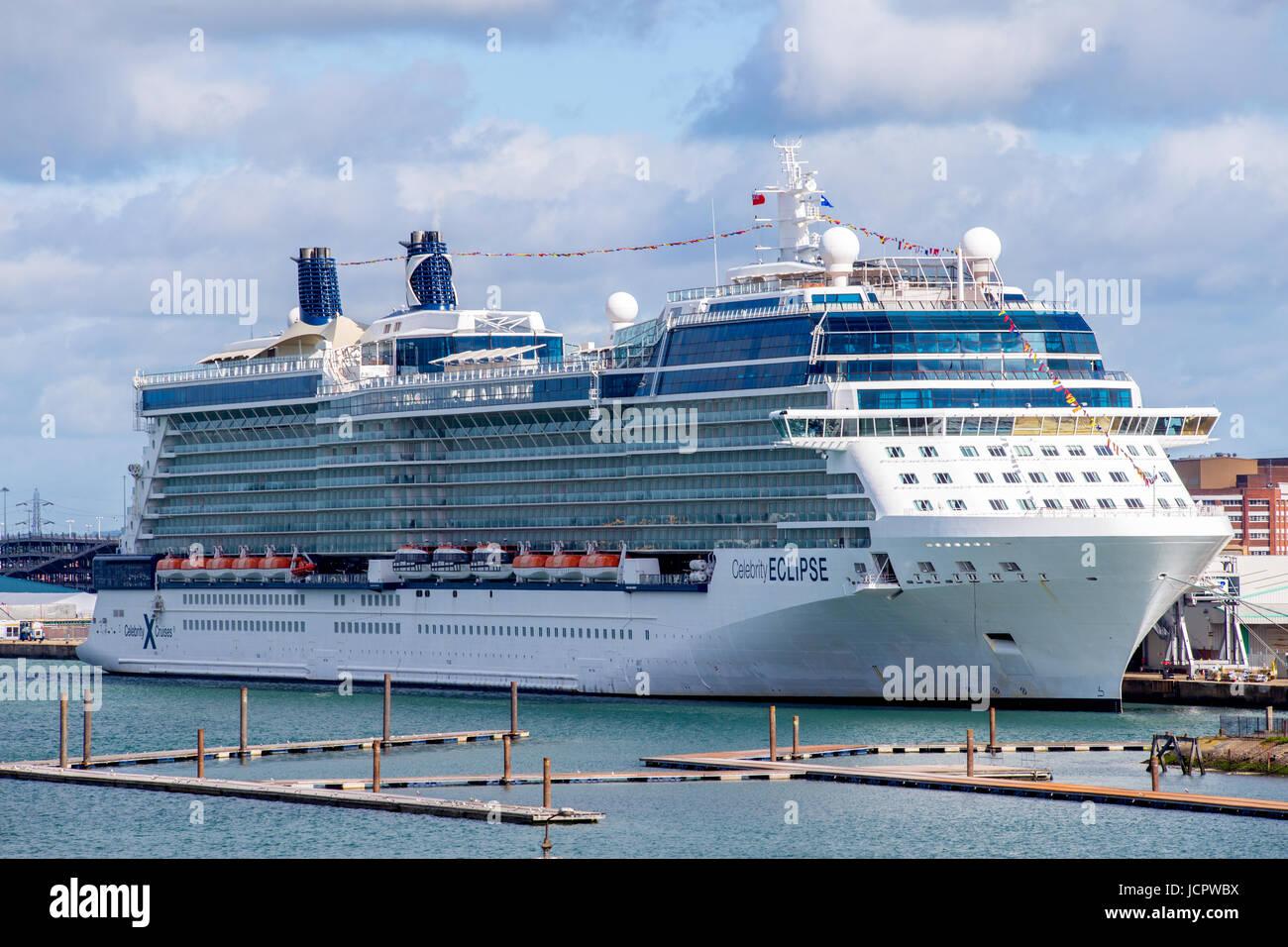 Celebrity Eclipse cruise ship docked in Southampton port, England - Stock Image