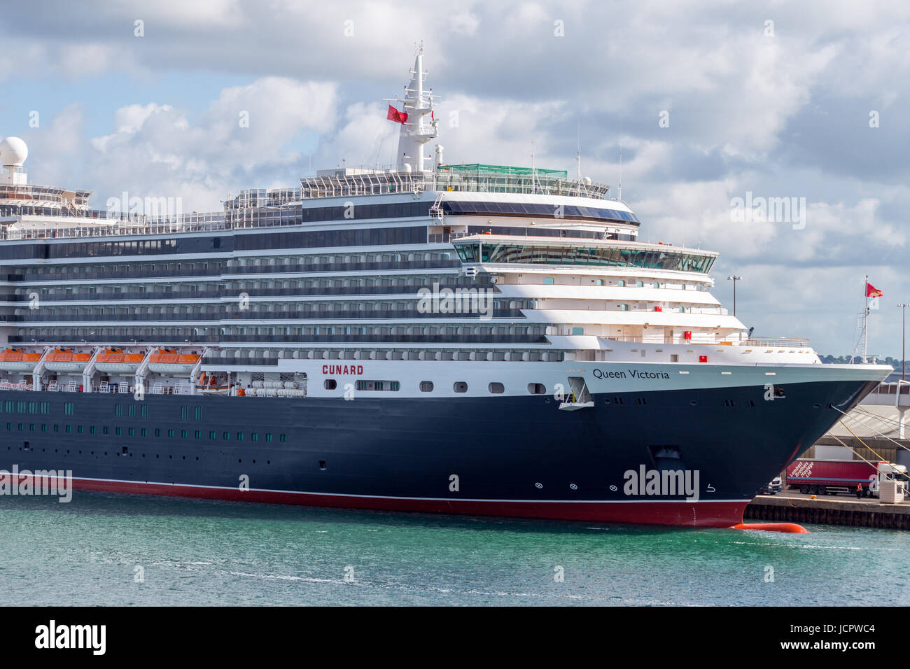 Cunard's Queen Victoria cruise ship docked in Southampton - Stock Image