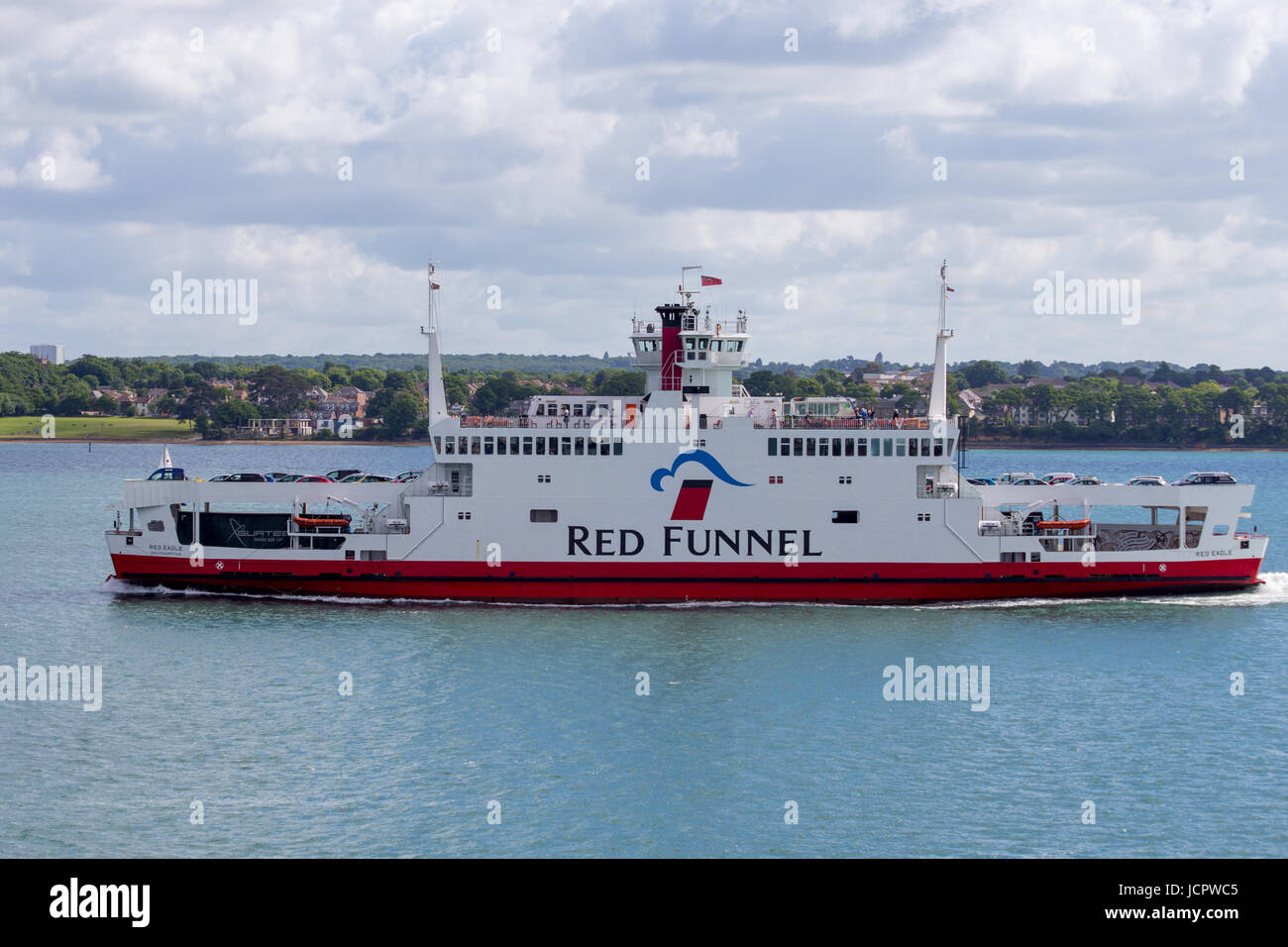 Red Funnel Red Eagle roll on roll off car ferry from the Isle of Wight going towards Southampton - Stock Image