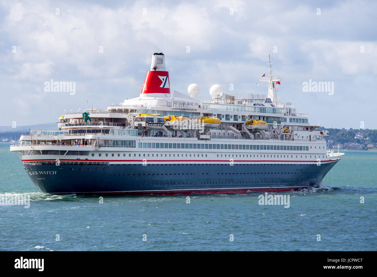 MS Black Watch cruise ship leaving Southampton docks in the Solent - Stock Image