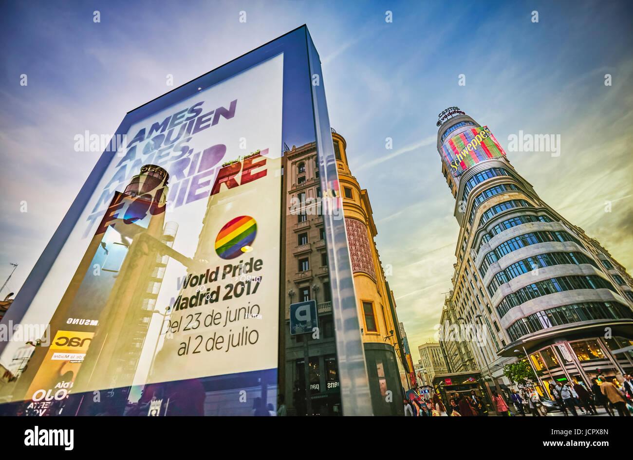World Pride Madrid 2017 sign at Callao Square. Madrid. Spain. - Stock Image