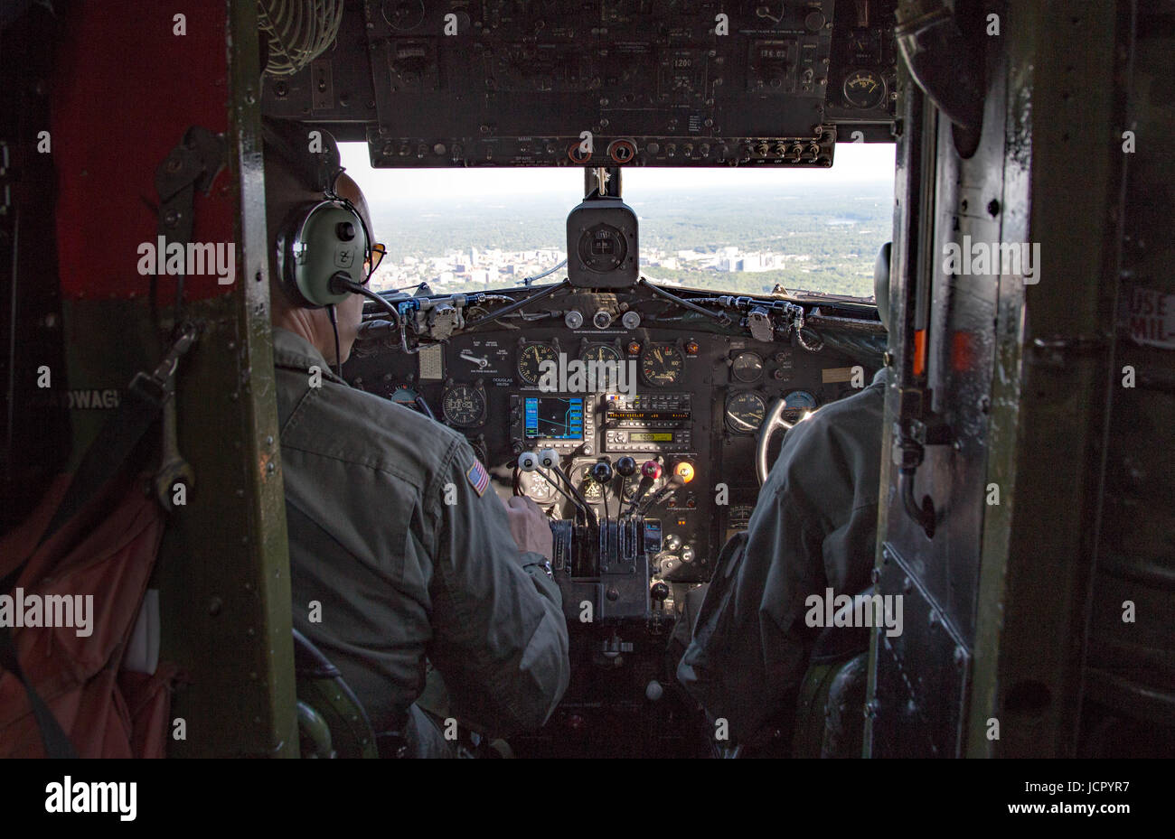 view of the cockpit of a c47 in Ann Arbor Michigan - Stock Image