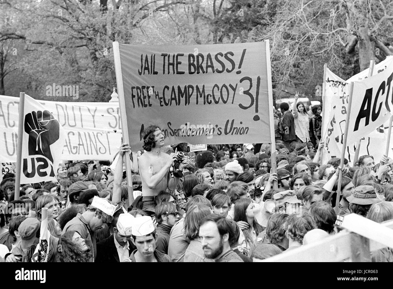 Antiwar protestors on the U.S. Capitol grounds during massive demonstrations against the Vietnam war on April 23, - Stock Image