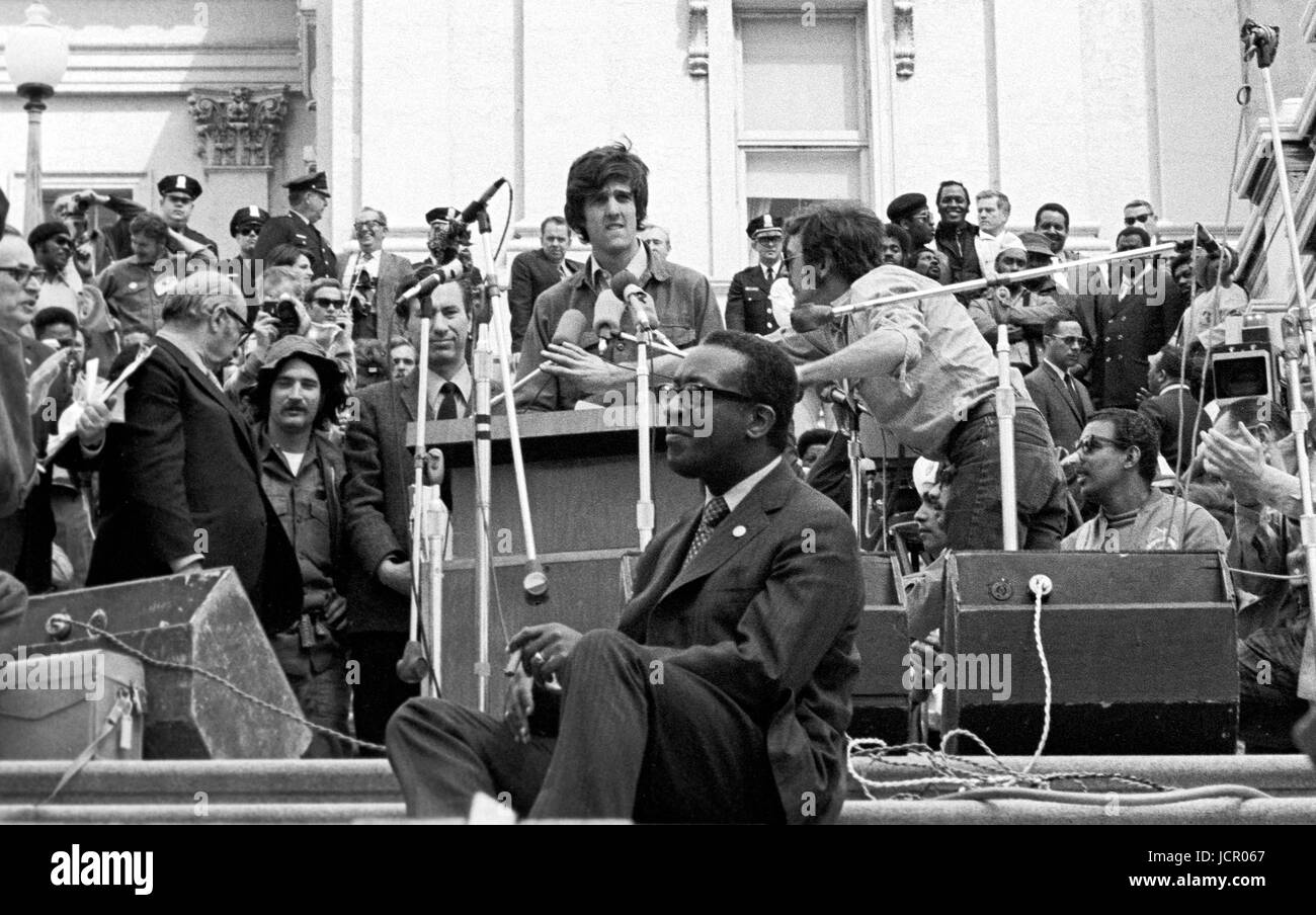 On April 22, 1971, Vietnam veteran Lt. John Kerry became the first Vietnam veteran to testify before Congress about - Stock Image