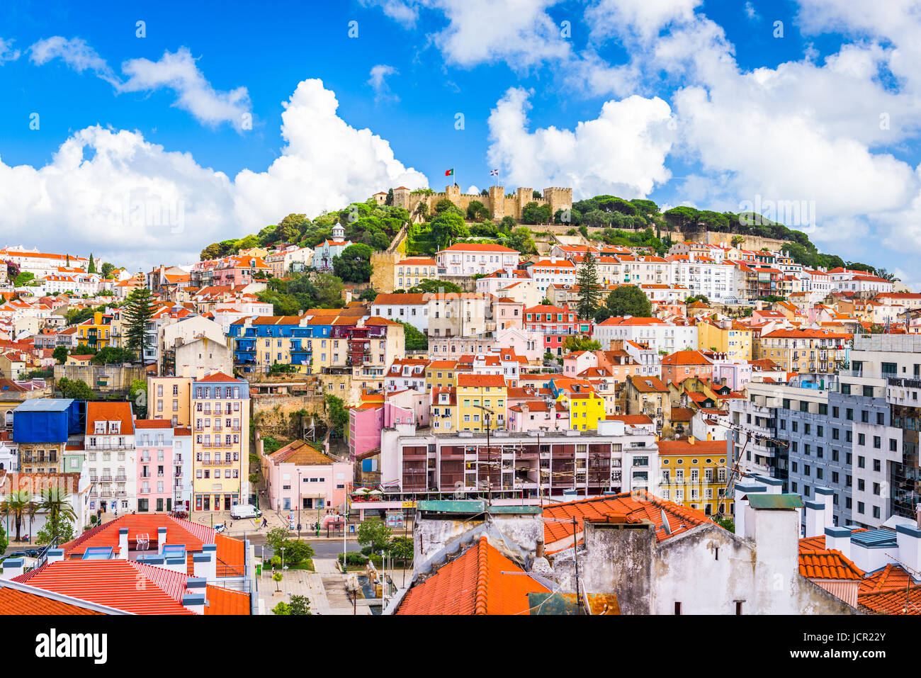 Lisbon, Portugal skyline at Sao Jorge Castle. - Stock Image