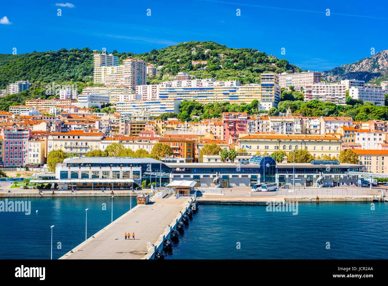 Ajaccio, Corsica, France coastal skyline. - Stock Image