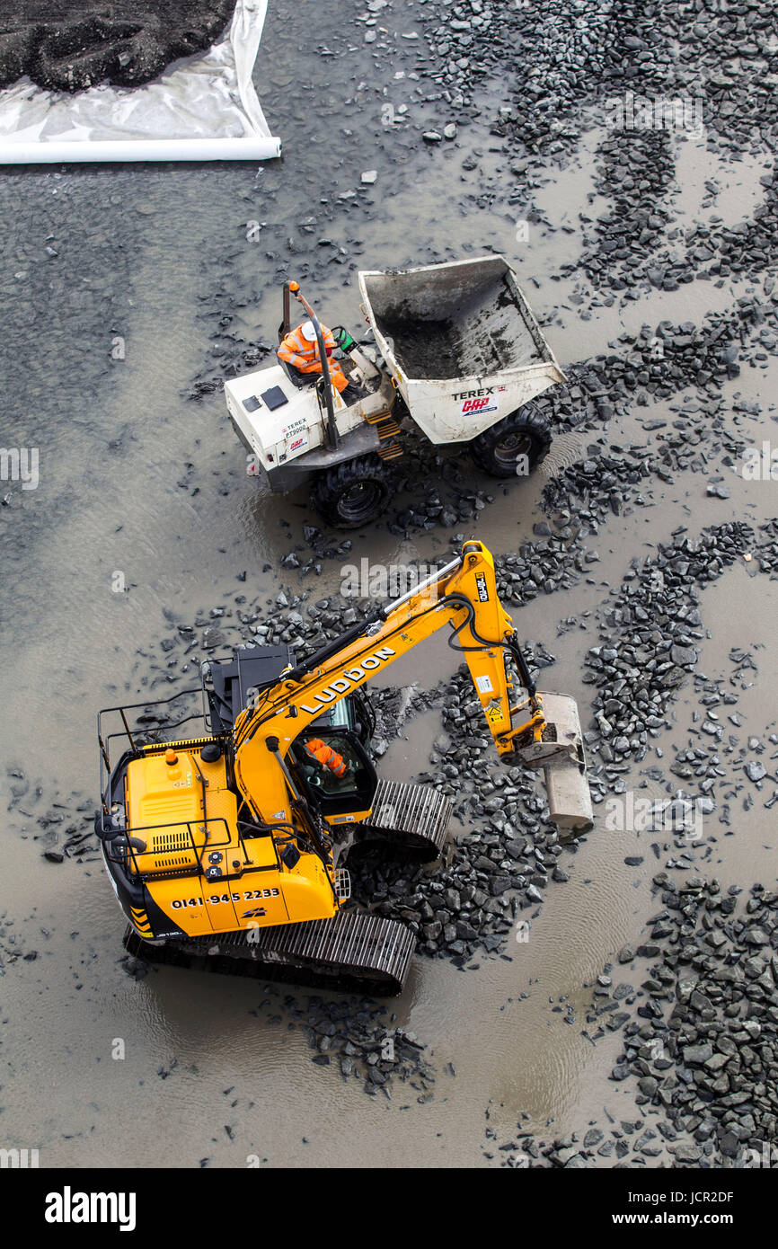 Digger and dumper truck aerial view Stock Photo