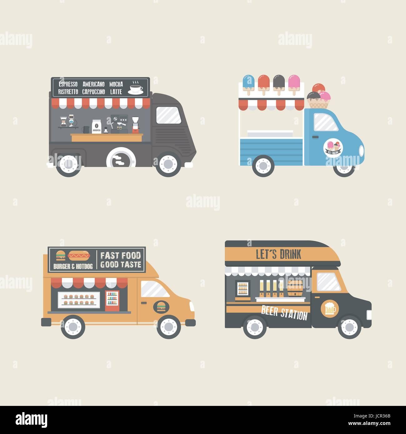 Retro Food Truck Service In Carnival Festival
