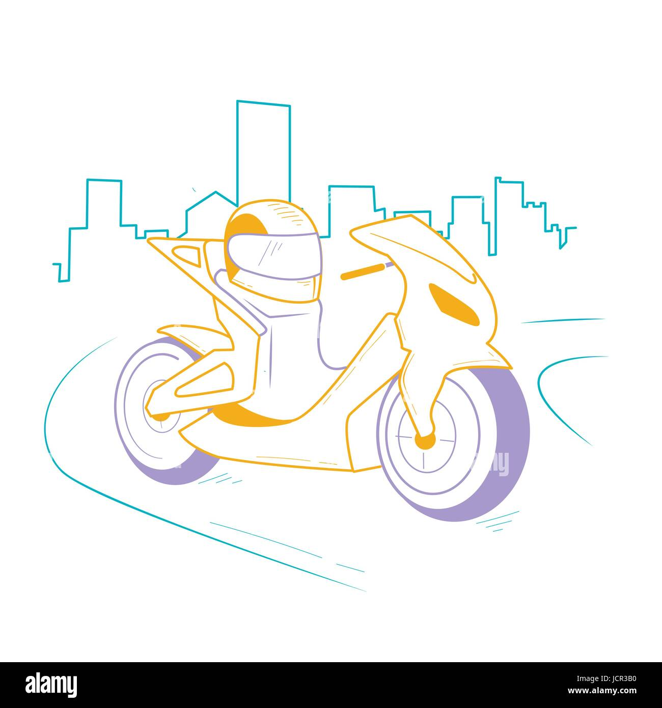 icon motorcycle, motorbike  on the road in the city. Icon in the linear style - Stock Vector