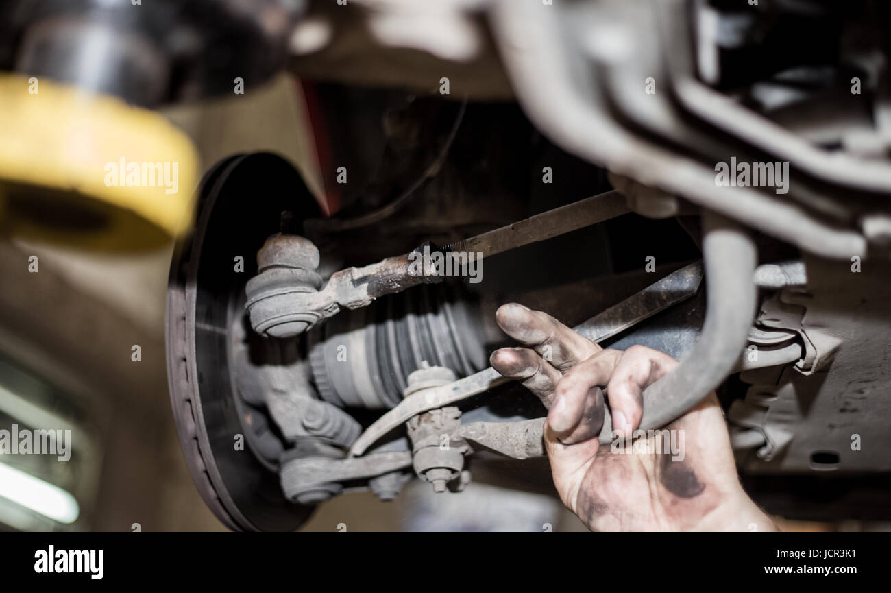Car brake disc with no point, mechanic checks to see if everything is fine, car service - Stock Image