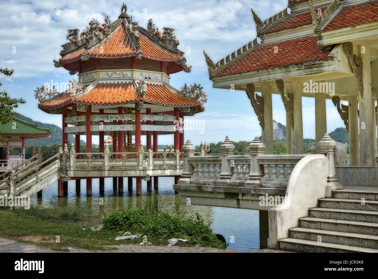 Abandoned and neglected Chinese Buddhist temple, Pattaya, Thailand - Stock Image