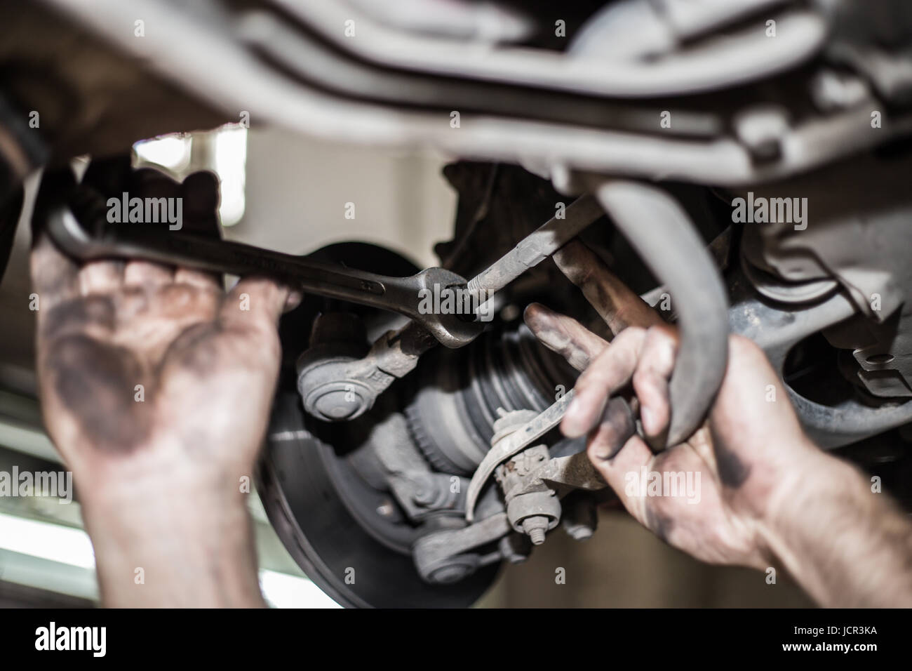Car Brake Disc With No Point Mechanic Checks To See If Everything Auto Repair Engine Brakes Service Is Fine