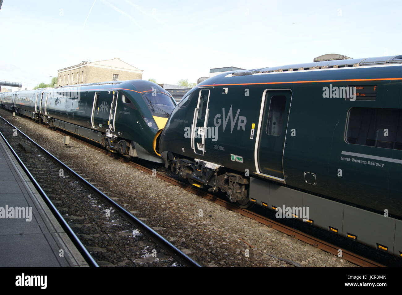 GWR liveried class 800 IET sits in Swindon station on a test run between London Paddington and Taunton on 16/06/2017. Stock Photo