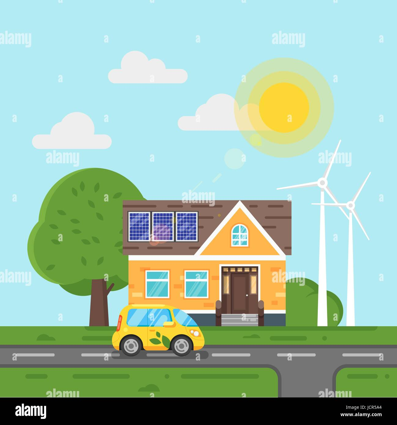 Vector flat style illustration of electric car and house with solar panels. Blue background. Icon for web. Eco concept - Stock Vector