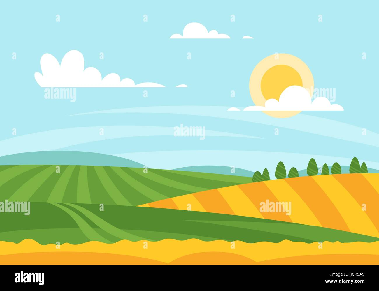 Vector cartoon style illustration of wheat field in a daytime. Sunny day background. - Stock Vector