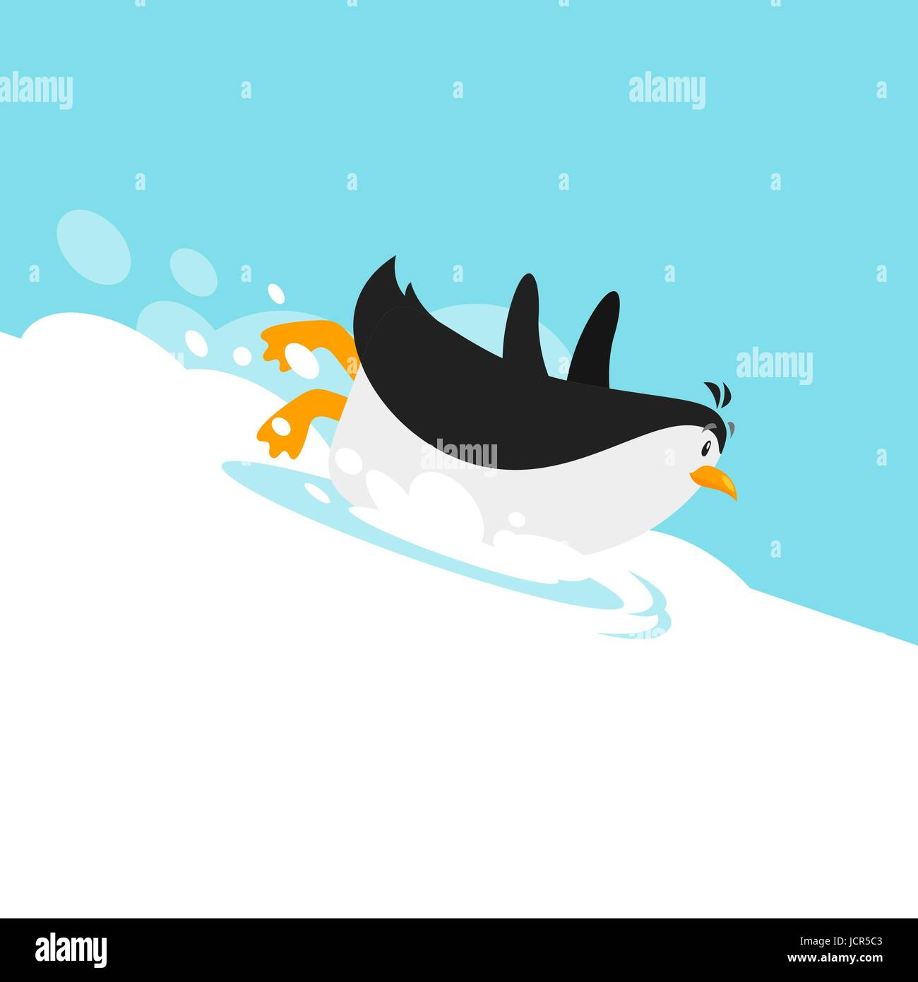 Vector flat style illustration of cute penguin sliding on the glacier. - Stock Vector