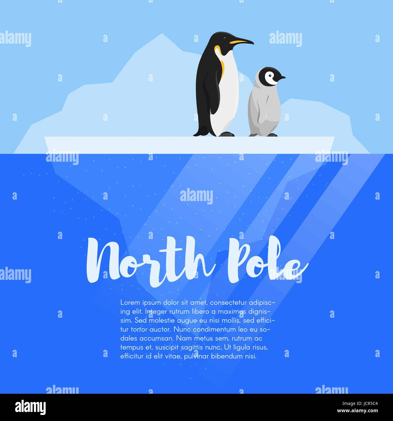 Vector flat style illustration of two penguins on the glacier In the open sea.  Background with title 'North - Stock Vector