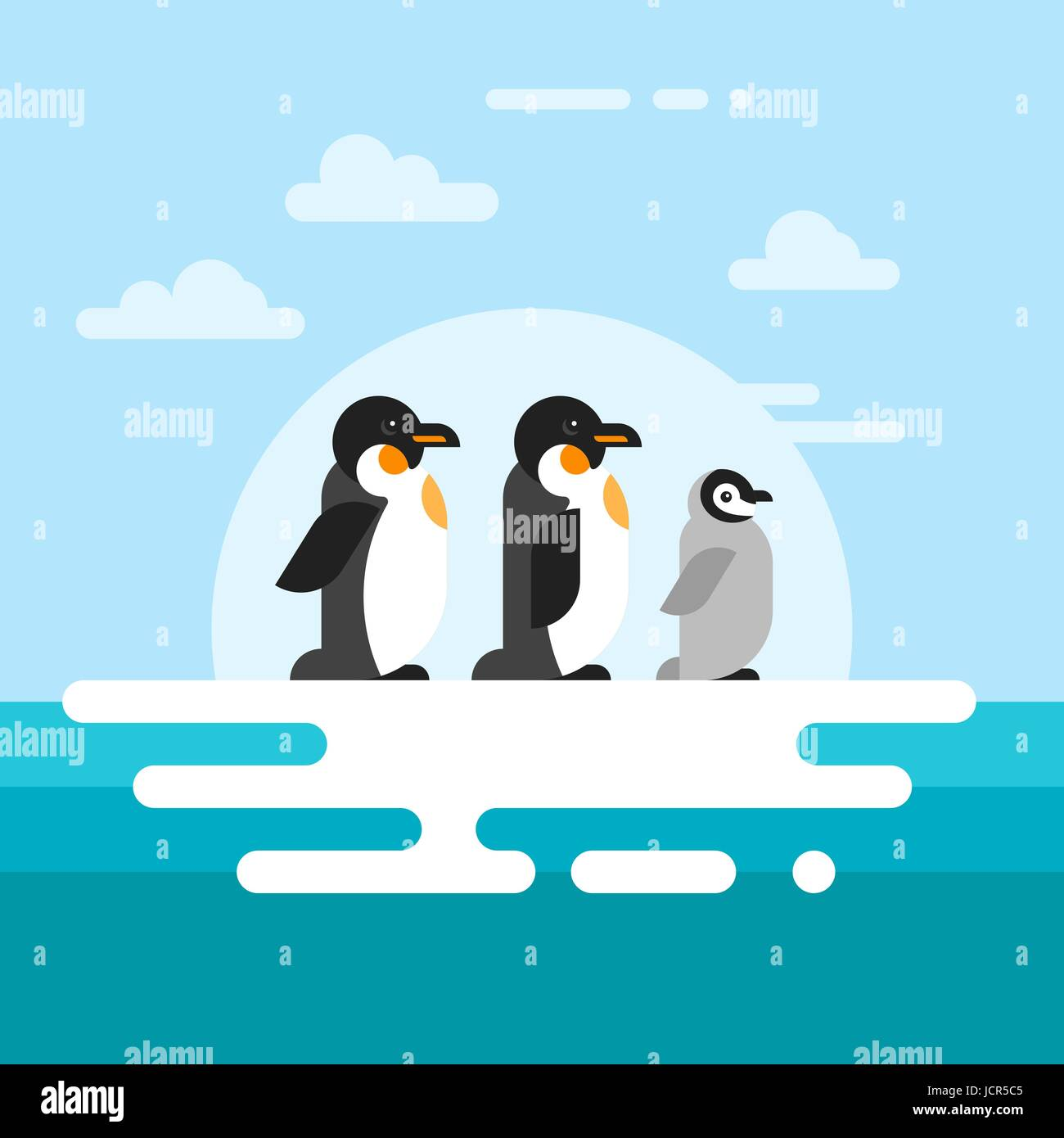 Vector flat style illustration of penguins on the glacier in the open sea. - Stock Vector