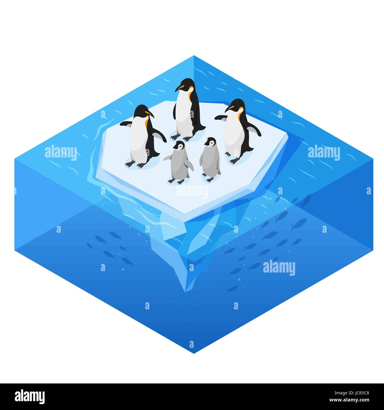 Isometric 3d vector realistic style illustration of penguins on the glacier in the open sea. Isolated on white background. - Stock Vector
