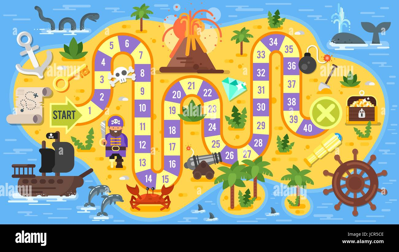 Vector flat style illustration of kids pirate board game for Board game instructions template