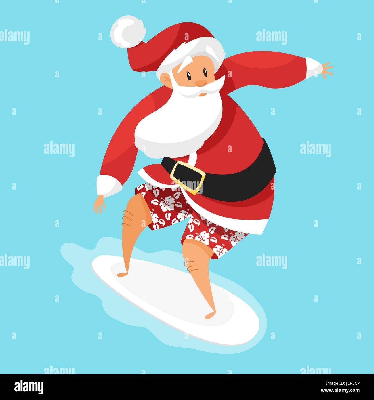 vector cartoon style illustration of santa surfer holiday greeting card template isolated on blue background