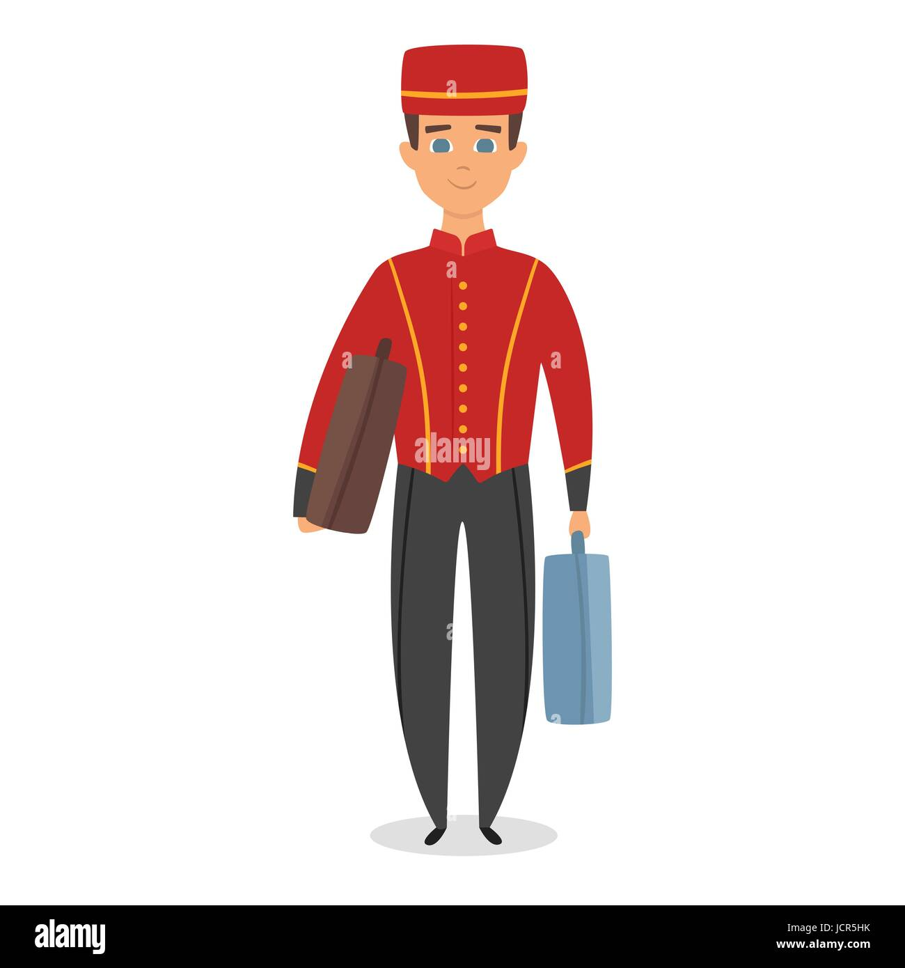 Vector cartoon style illustration of hotel bellboy at work carrying guests bags. Isolated on white background. - Stock Vector