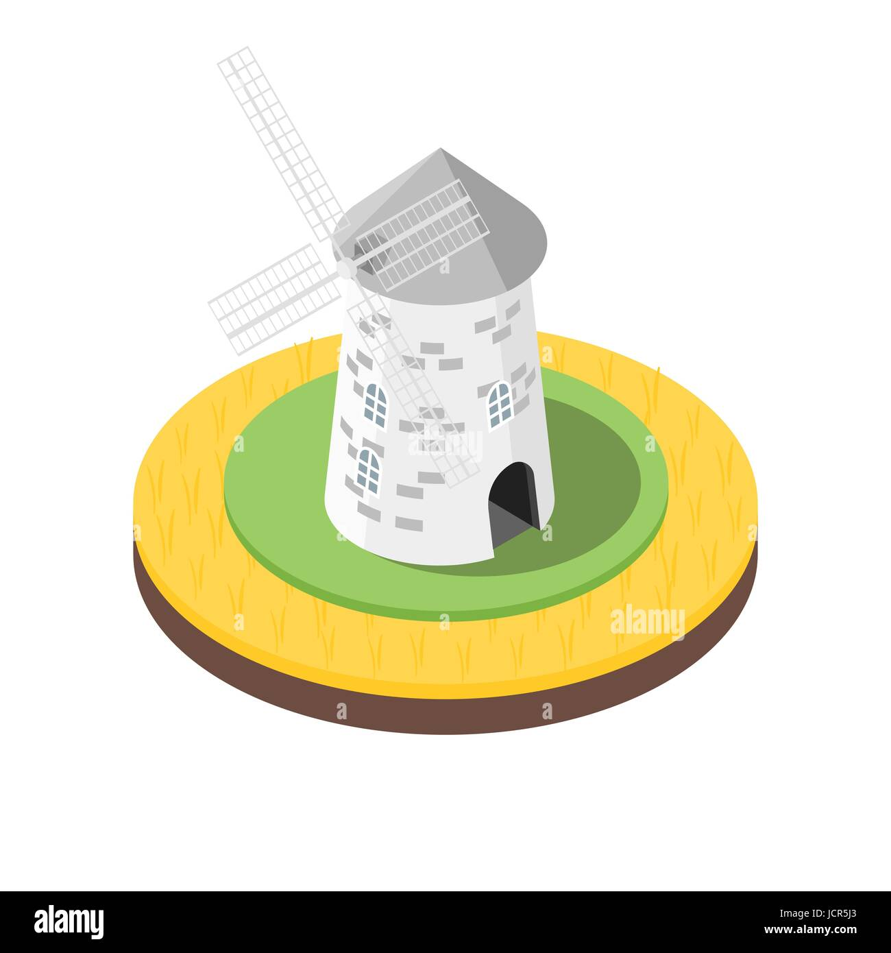 Isometric 3d vector illustration of windmill in the wheat field. Icon for web. Isolated on white background. - Stock Vector