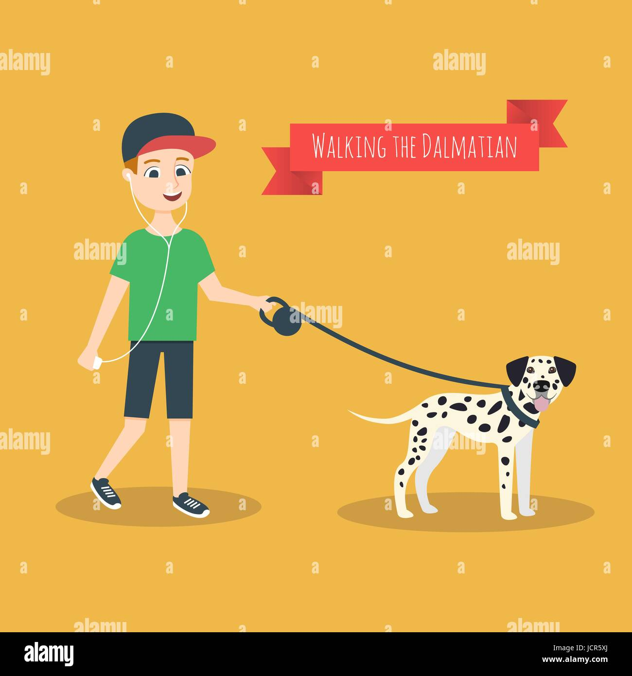 Vector illustration of funny cartoon guy with mobile phone that walking with his Dalmatian. Stock Vector