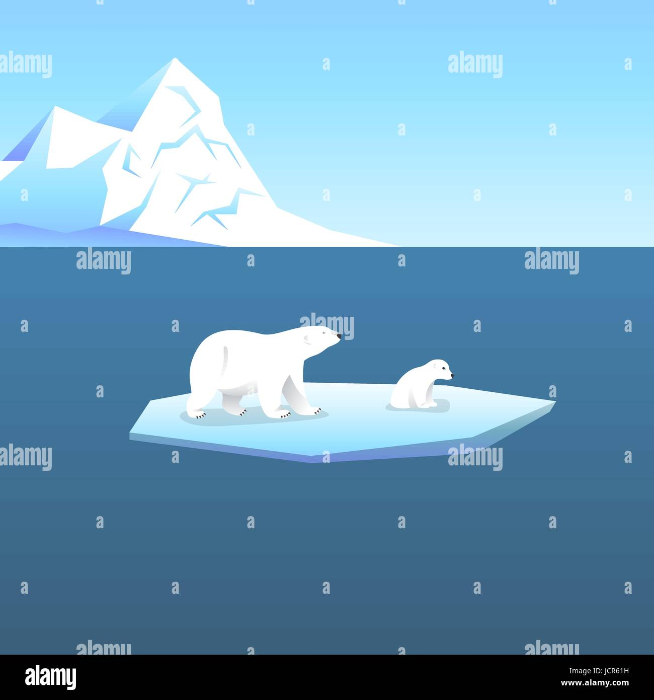 Vector background with two polar bears, she-bear and teddy bear standing on stylized glacier in the open sea. Cold - Stock Vector
