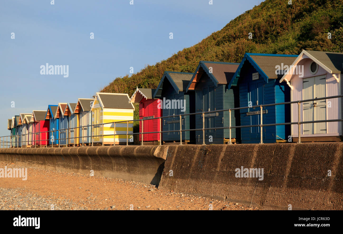 Beach huts on Cromer Beach, Cromer, Norfolk, England, Europe - Stock Image
