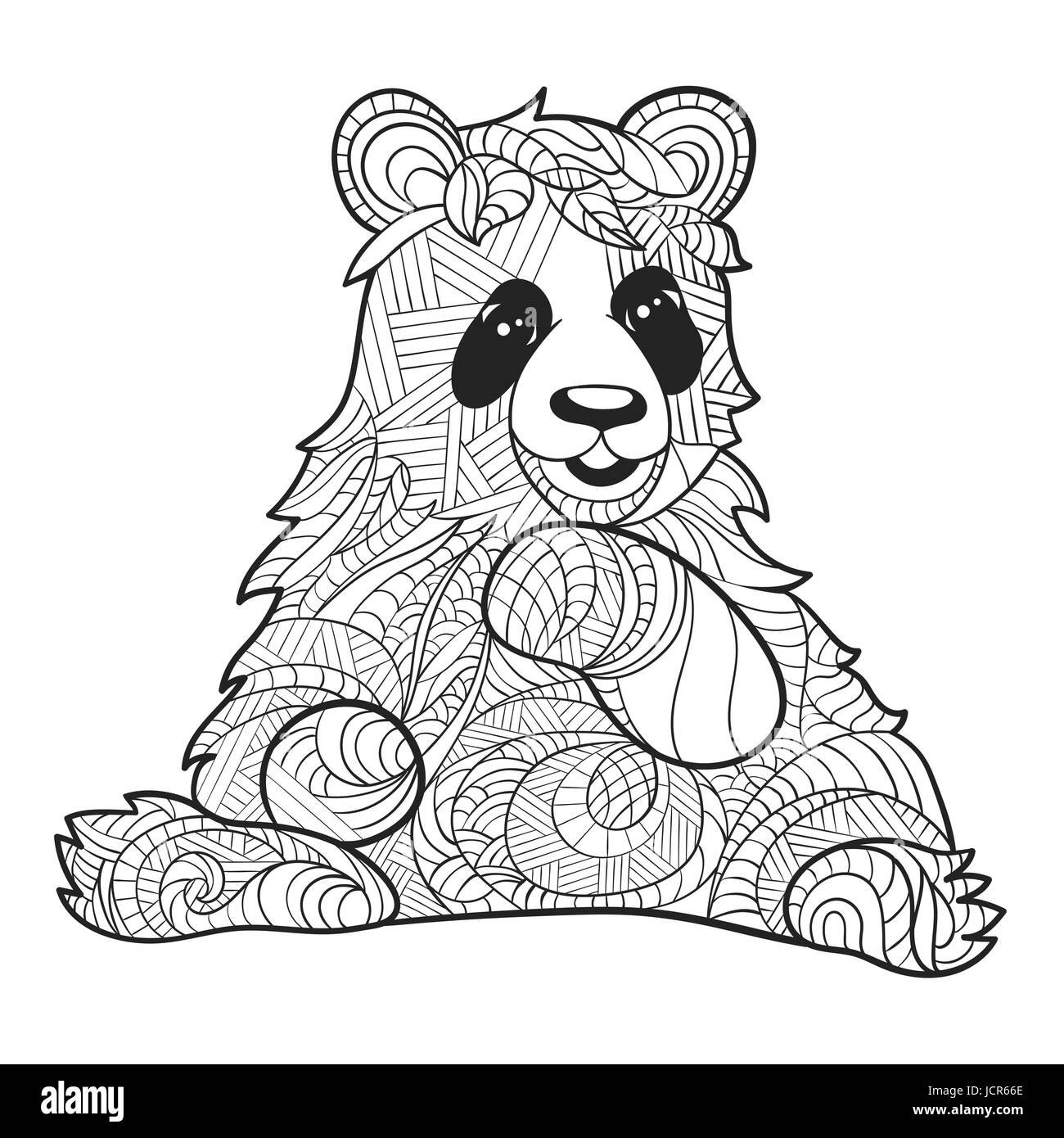 Vector Monochrome Hand Drawn Zentagle Illustration Of Panda Bear Coloring Page With High Details Isolated On White Background Boho Style Sitt