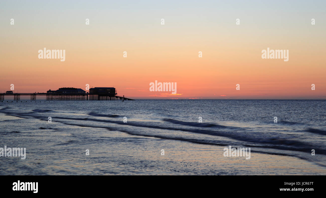 Dusk at Cromer, North Norfolk, England, Europe - Stock Image