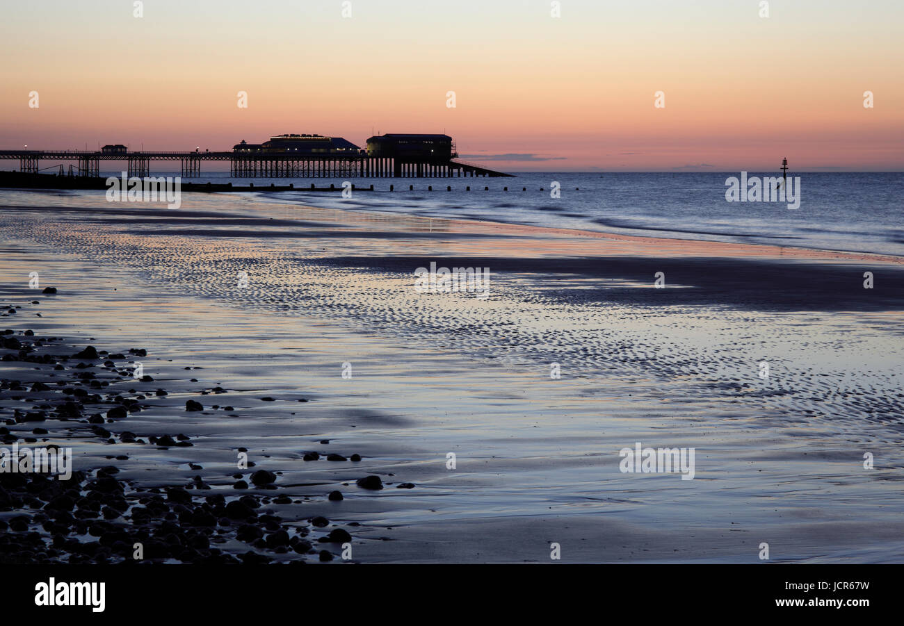 The last light o a summer's day at Cromer, North Norfolk, England, Europe - Stock Image