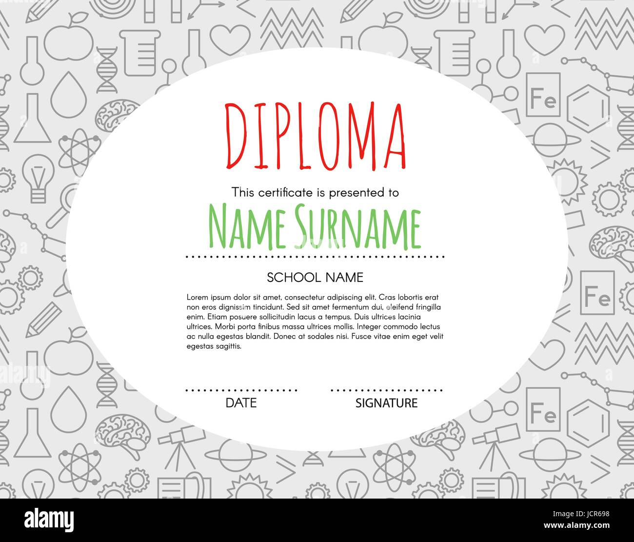 vector preschool elementary kids diploma certificate background design template school diploma