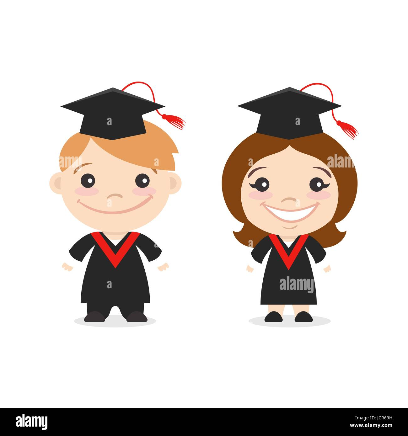 Vector illustration of two happy cute kids characters boy and girl in graduate costumes