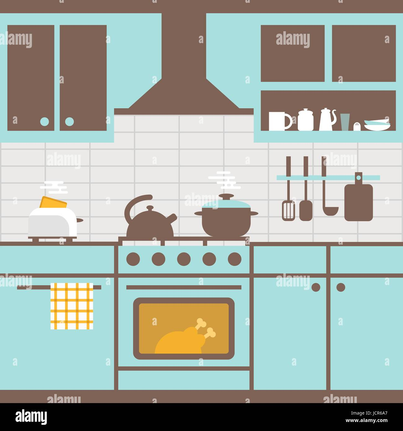 Vector illustration of kitchen with furniture. Kitchen utensils,cooker, kitchen furniture, toaster. Food cooking - Stock Vector