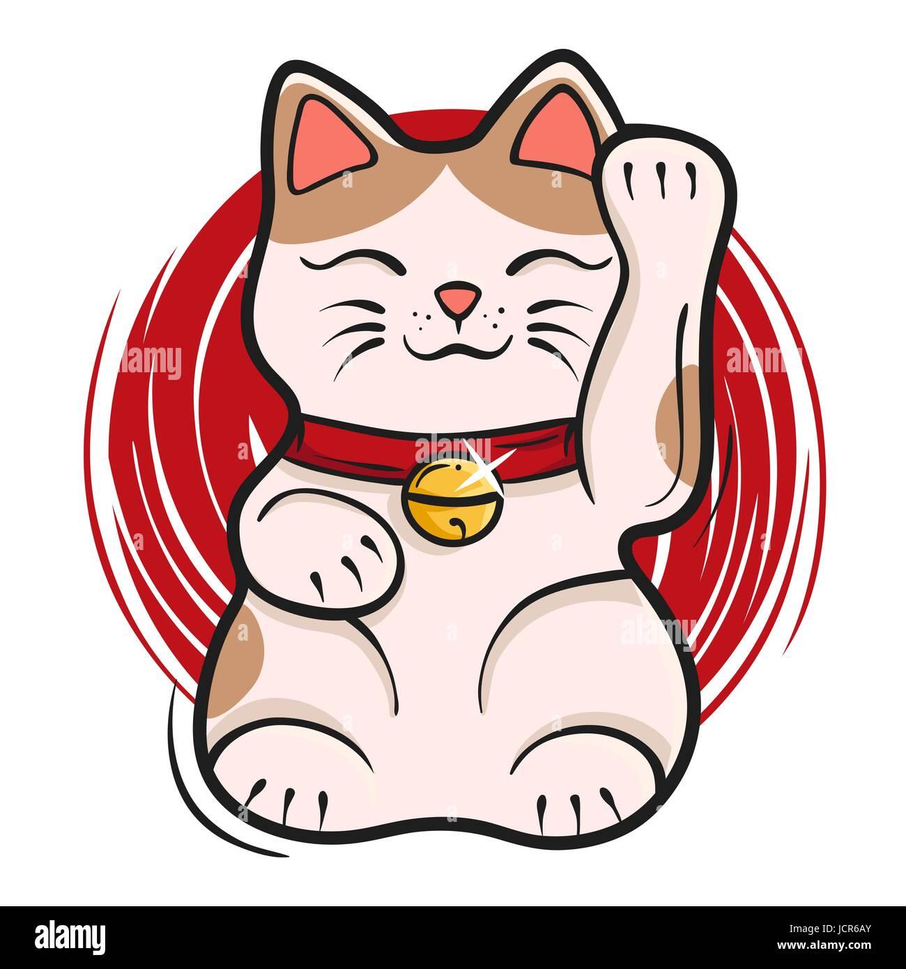 Vector Illustration Of Maneki Neko Japanese Lucky Cat Fortune