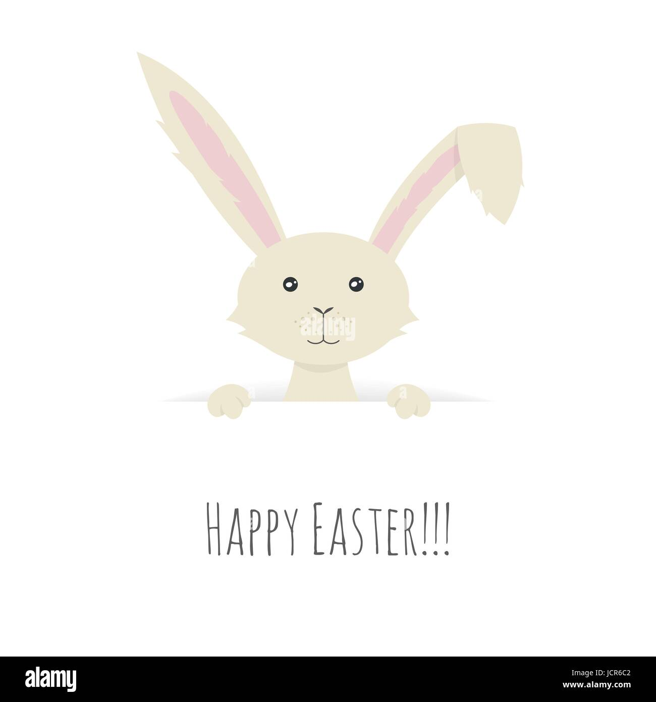 Vector illustration of Cute Easter Bunny peeping over the top of a blank sign. - Stock Vector