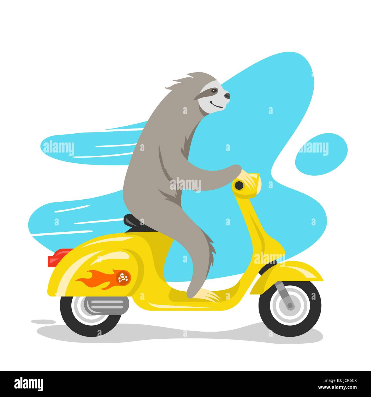 Vector Illustration Of Happy Cute Sloth Riding On Scooter Retro Style Transport Vintage Looking Moped Print For T Shirt Or Poster Design