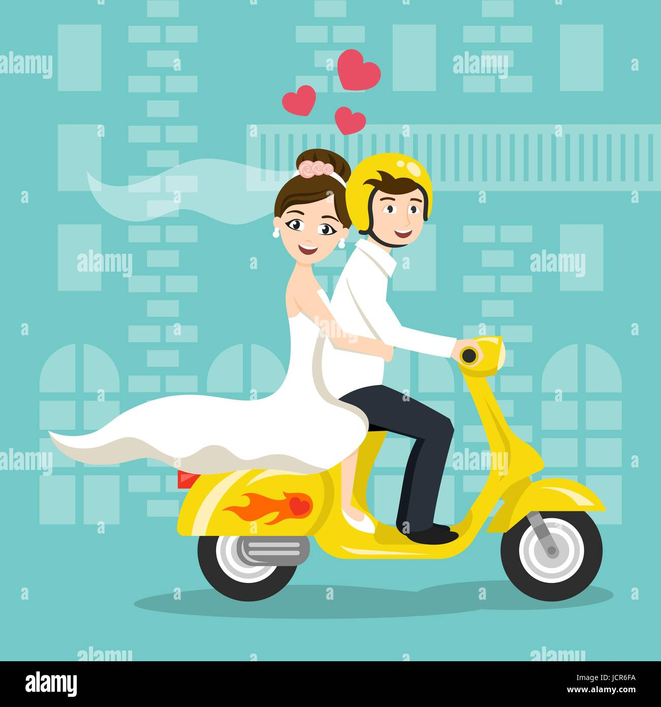 Vector Illustration Of Young Happy Newlyweds Bride And Groom Riding On Scooter Retro Style Transport Vintage Looking Moped Honeymoon Print
