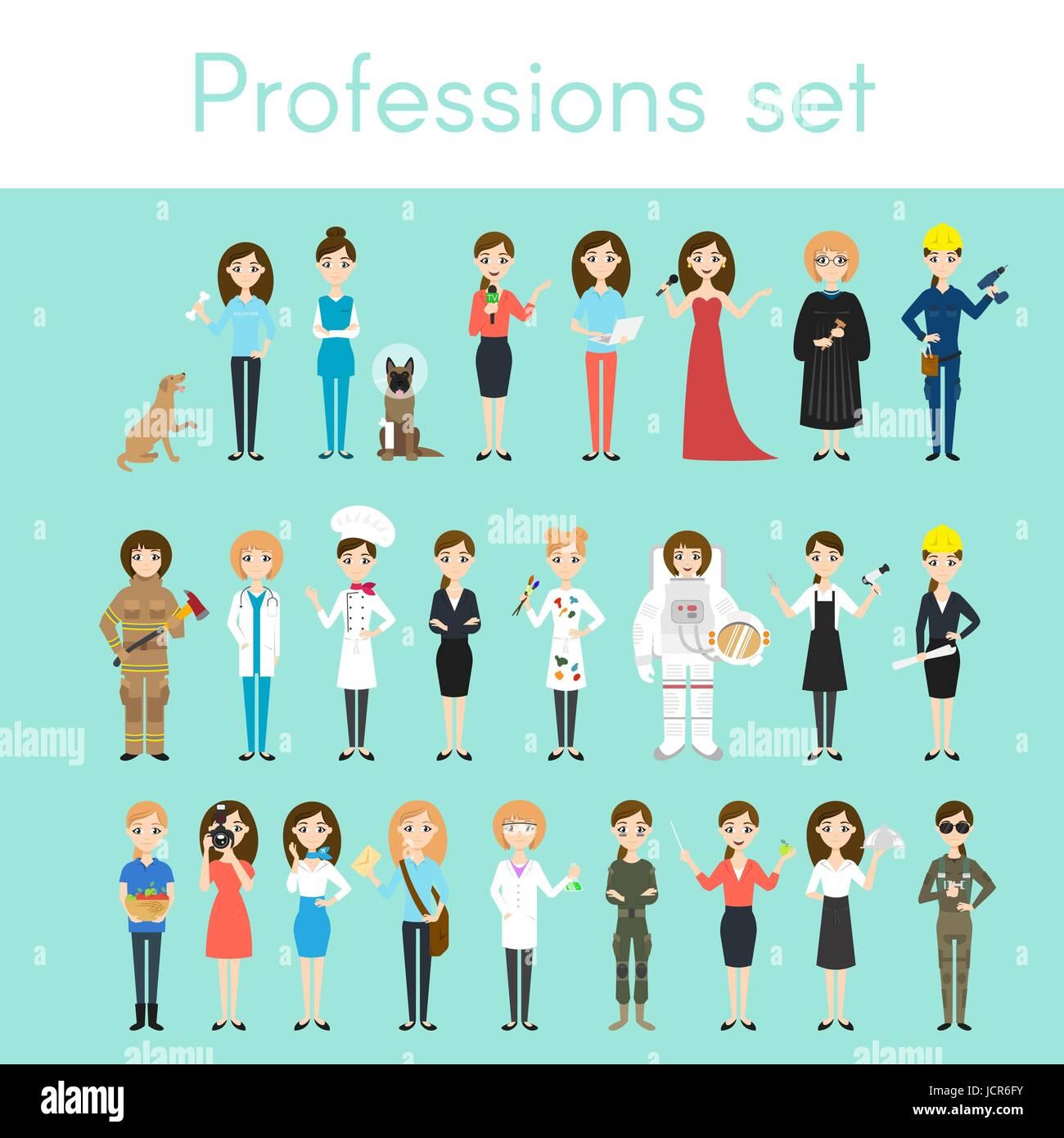 Vector set of different colorful woman professions. Cartoon women characters. Doctor, volunteer, firefighter, waiter, - Stock Vector