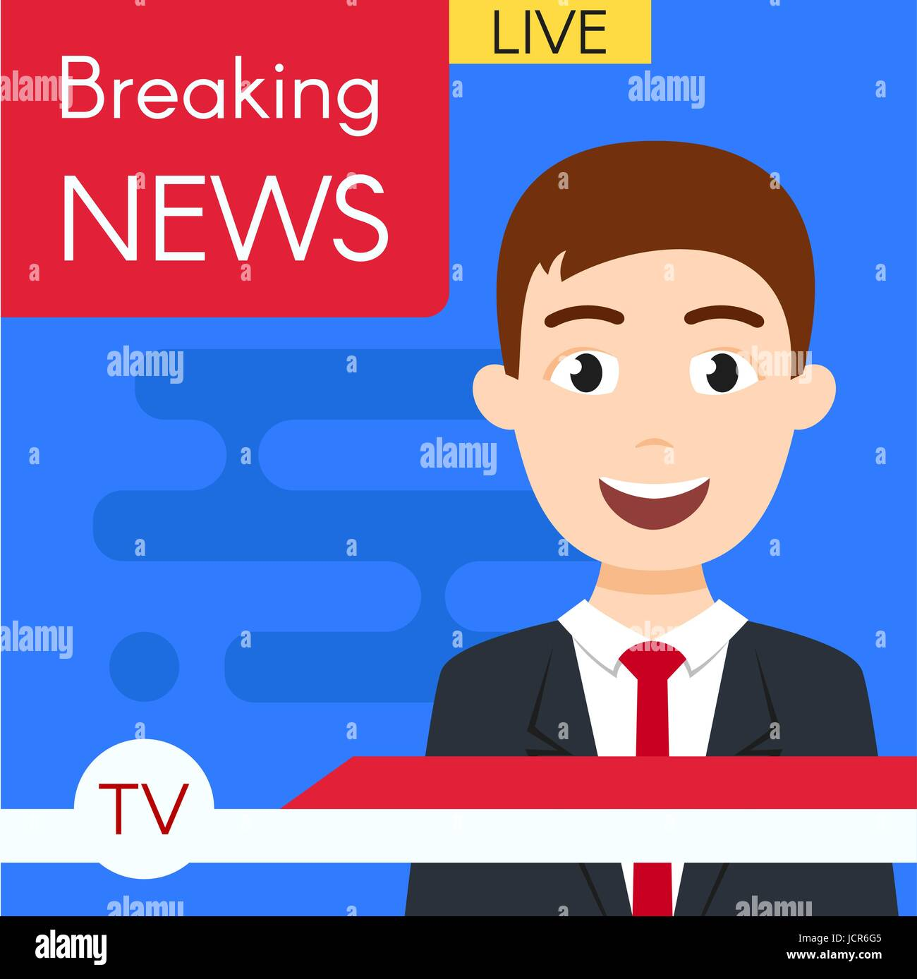 Vector illustration of smiling news journalist anchorman. Breaking news. News broadcast. Flat style. - Stock Image