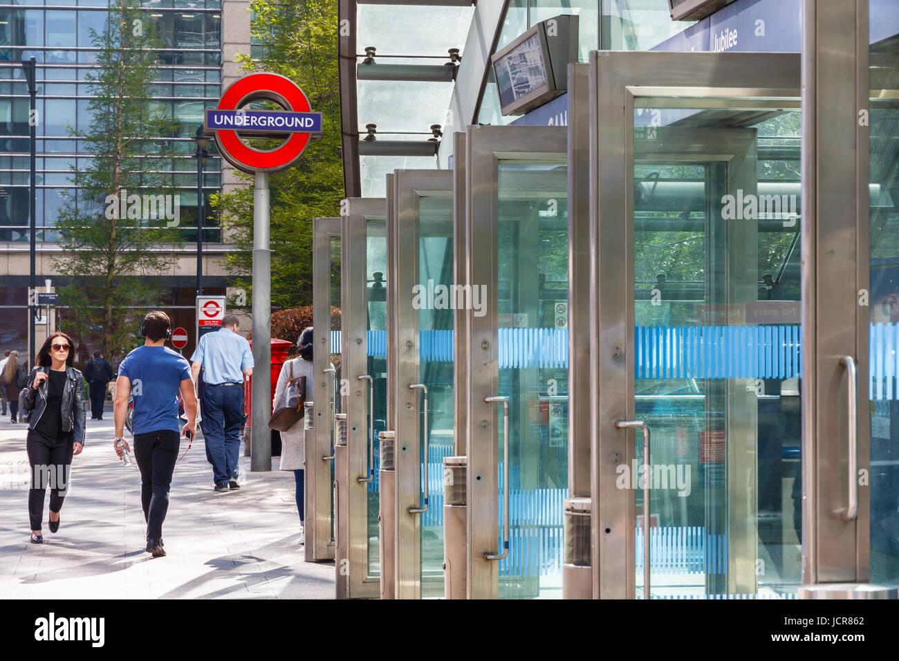 London, UK - May 10, 2017 - East entrance to Canary Wharf underground station Stock Photo