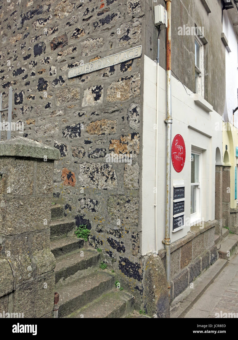 Someone with a sense of humour must have named this narrow passageway in St Ives, Cornwall, England, UK - Stock Image