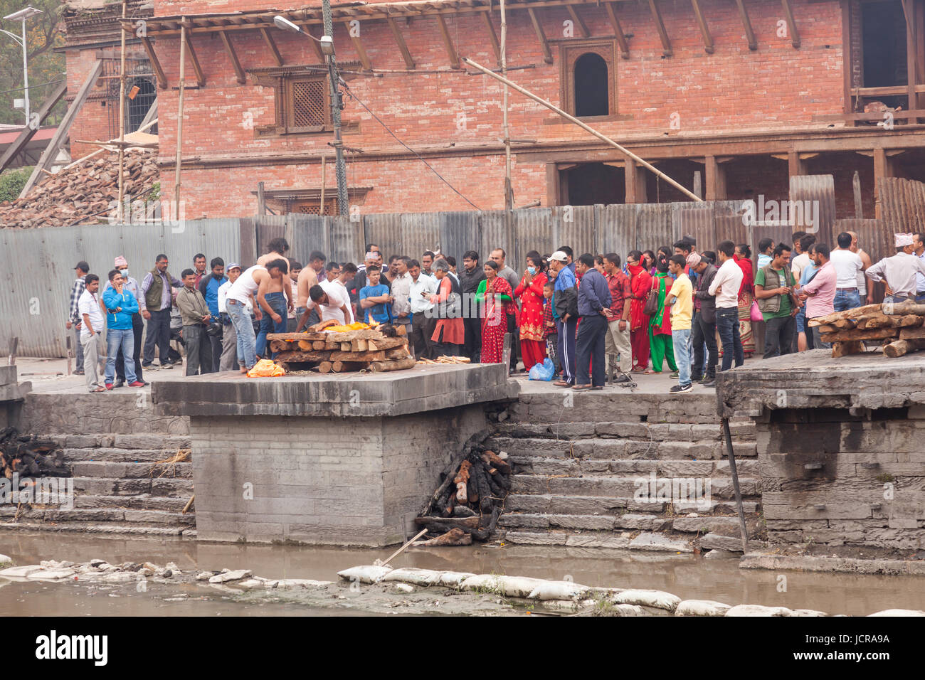 Cremation Ceremony at the Ghats site and the Holy Temple of Lord Shiva in Pasupatianth Temple, Kathmandu,Nepal,Asia Stock Photo