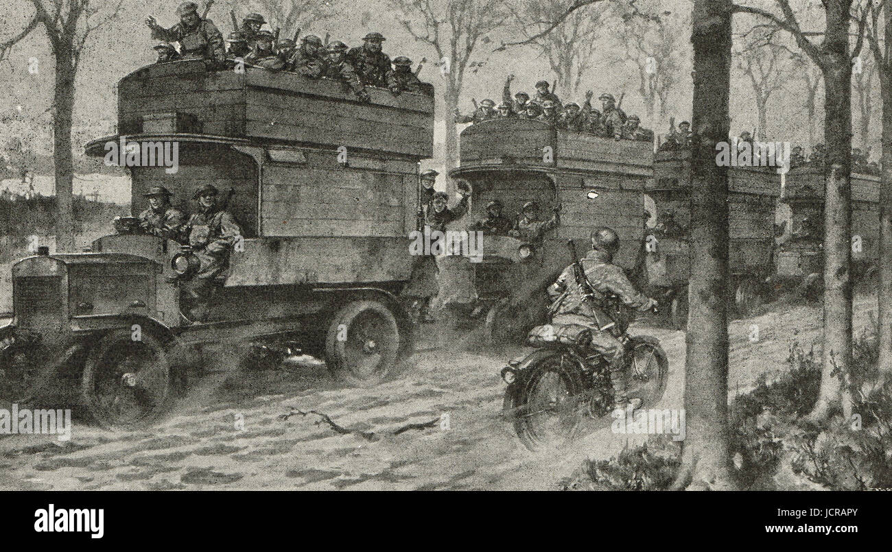 London buses returning from the trenches 1917 WW I - Stock Image