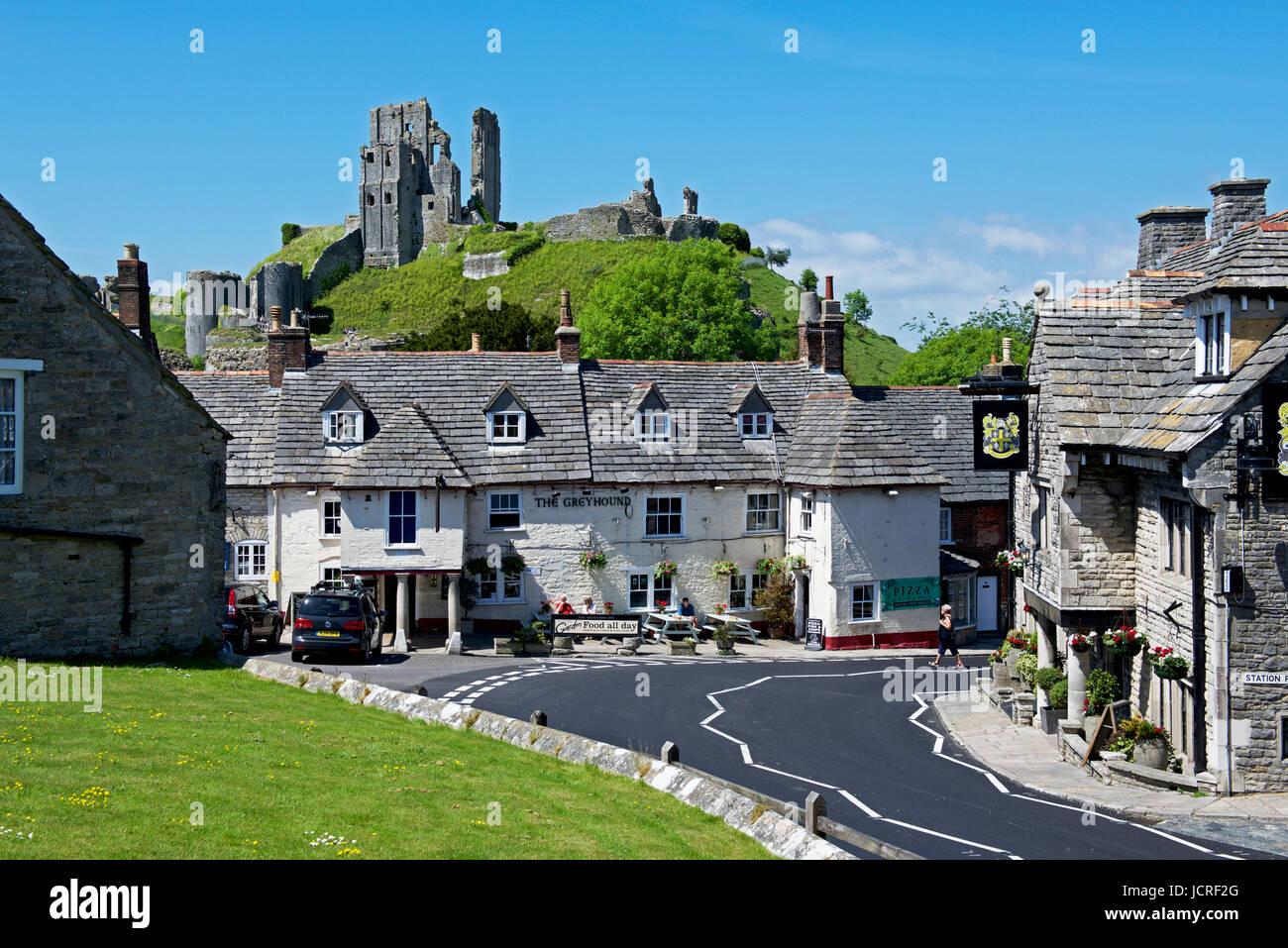 The village of Corfe Castle, Dorset, England UK - Stock Image