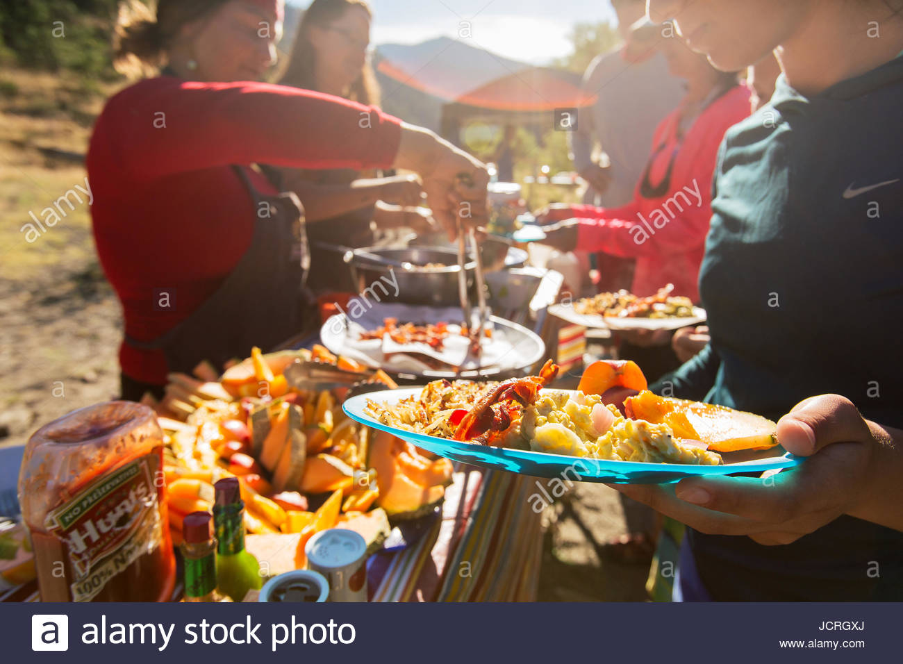 A hearty breakfast  served to rafters at camp in the Wild Rogue Wilderness. Editorial Use Only. - Stock Image