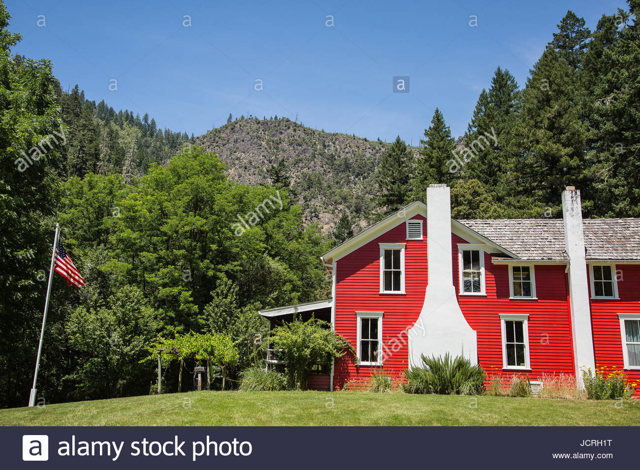 Exterior view of  the Rogue River Ranch, a U.S. National Register of Historic Places location in Curry County Oregon. Stock Photo