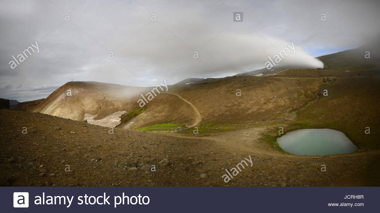 Sulfur steam rushes out from open vents on the ground in northern Iceland. - Stock Image
